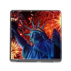 Statue Of Liberty Fireworks At Night United States Of America Memory Card Reader (square)
