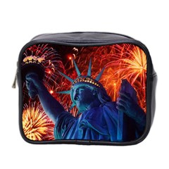 Statue Of Liberty Fireworks At Night United States Of America Mini Toiletries Bag 2 Side