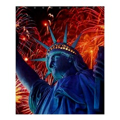 Statue Of Liberty Fireworks At Night United States Of America Shower Curtain 60  X 72  (medium)