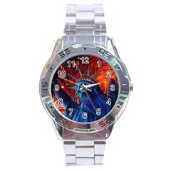 Statue Of Liberty Fireworks At Night United States Of America Stainless Steel Analogue Watch