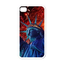 Statue Of Liberty Fireworks At Night United States Of America Apple Iphone 4 Case (white)