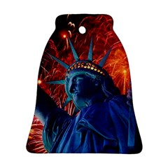 Statue Of Liberty Fireworks At Night United States Of America Ornament (bell)