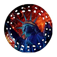 Statue Of Liberty Fireworks At Night United States Of America Round Filigree Ornament (two Sides)