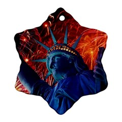 Statue Of Liberty Fireworks At Night United States Of America Snowflake Ornament (two Sides)