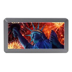 Statue Of Liberty Fireworks At Night United States Of America Memory Card Reader (mini)