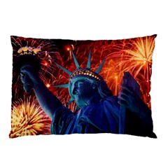 Statue Of Liberty Fireworks At Night United States Of America Pillow Case (two Sides)