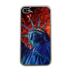 Statue Of Liberty Fireworks At Night United States Of America Apple Iphone 4 Case (clear)