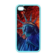 Statue Of Liberty Fireworks At Night United States Of America Apple Iphone 4 Case (color)