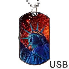 Statue Of Liberty Fireworks At Night United States Of America Dog Tag Usb Flash (one Side)