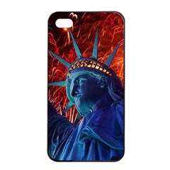 Statue Of Liberty Fireworks At Night United States Of America Apple Iphone 4/4s Seamless Case (black)