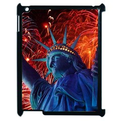 Statue Of Liberty Fireworks At Night United States Of America Apple Ipad 2 Case (black)