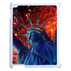 Statue Of Liberty Fireworks At Night United States Of America Apple Ipad 2 Case (white)