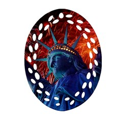 Statue Of Liberty Fireworks At Night United States Of America Ornament (oval Filigree)