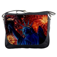 Statue Of Liberty Fireworks At Night United States Of America Messenger Bags