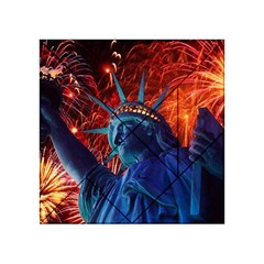 Statue Of Liberty Fireworks At Night United States Of America Acrylic Tangram Puzzle (4  X 4 )