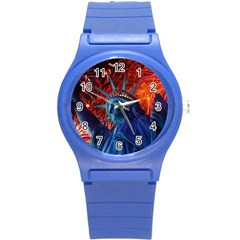 Statue Of Liberty Fireworks At Night United States Of America Round Plastic Sport Watch (s)