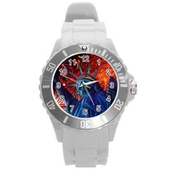 Statue Of Liberty Fireworks At Night United States Of America Round Plastic Sport Watch (l)