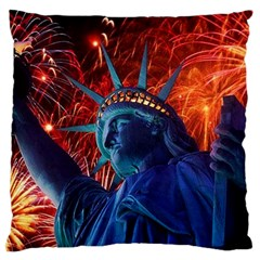 Statue Of Liberty Fireworks At Night United States Of America Large Cushion Case (two Sides)