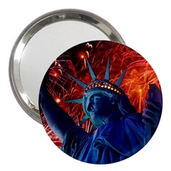Statue Of Liberty Fireworks At Night United States Of America 3  Handbag Mirrors