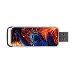 Statue Of Liberty Fireworks At Night United States Of America Portable Usb Flash (two Sides)