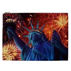 Statue Of Liberty Fireworks At Night United States Of America Cosmetic Bag (xxl)