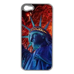 Statue Of Liberty Fireworks At Night United States Of America Apple Iphone 5 Case (silver)