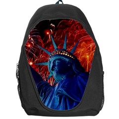 Statue Of Liberty Fireworks At Night United States Of America Backpack Bag