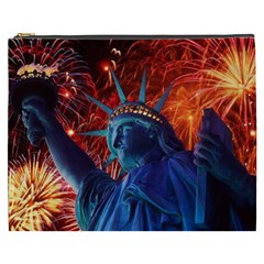 Statue Of Liberty Fireworks At Night United States Of America Cosmetic Bag (xxxl)