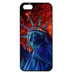 Statue Of Liberty Fireworks At Night United States Of America Apple Iphone 5 Seamless Case (black)