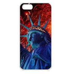 Statue Of Liberty Fireworks At Night United States Of America Apple Iphone 5 Seamless Case (white)