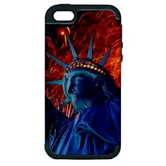 Statue Of Liberty Fireworks At Night United States Of America Apple Iphone 5 Hardshell Case (pc+silicone)