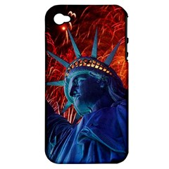 Statue Of Liberty Fireworks At Night United States Of America Apple Iphone 4/4s Hardshell Case (pc+silicone)