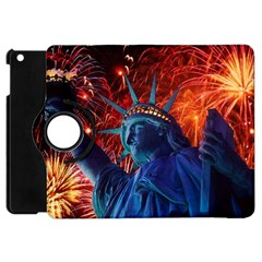 Statue Of Liberty Fireworks At Night United States Of America Apple Ipad Mini Flip 360 Case