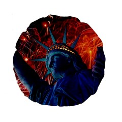 Statue Of Liberty Fireworks At Night United States Of America Standard 15  Premium Round Cushions