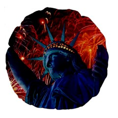 Statue Of Liberty Fireworks At Night United States Of America Large 18  Premium Round Cushions