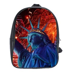 Statue Of Liberty Fireworks At Night United States Of America School Bags (xl)