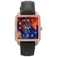 Statue Of Liberty Fireworks At Night United States Of America Rose Gold Leather Watch