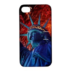 Statue Of Liberty Fireworks At Night United States Of America Apple Iphone 4/4s Hardshell Case With Stand