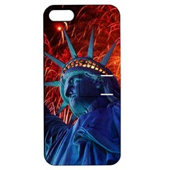 Statue Of Liberty Fireworks At Night United States Of America Apple Iphone 5 Hardshell Case With Stand