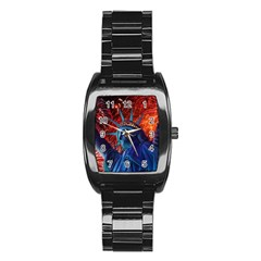Statue Of Liberty Fireworks At Night United States Of America Stainless Steel Barrel Watch