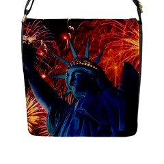 Statue Of Liberty Fireworks At Night United States Of America Flap Messenger Bag (l)