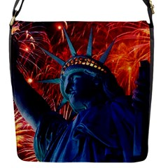 Statue Of Liberty Fireworks At Night United States Of America Flap Messenger Bag (s)