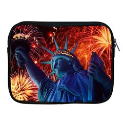 Statue Of Liberty Fireworks At Night United States Of America Apple Ipad 2/3/4 Zipper Cases