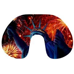 Statue Of Liberty Fireworks At Night United States Of America Travel Neck Pillows