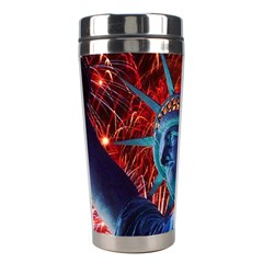 Statue Of Liberty Fireworks At Night United States Of America Stainless Steel Travel Tumblers