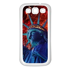 Statue Of Liberty Fireworks At Night United States Of America Samsung Galaxy S3 Back Case (white)