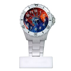 Statue Of Liberty Fireworks At Night United States Of America Plastic Nurses Watch