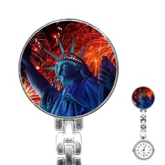 Statue Of Liberty Fireworks At Night United States Of America Stainless Steel Nurses Watch