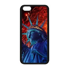 Statue Of Liberty Fireworks At Night United States Of America Apple Iphone 5c Seamless Case (black)