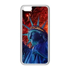 Statue Of Liberty Fireworks At Night United States Of America Apple Iphone 5c Seamless Case (white)